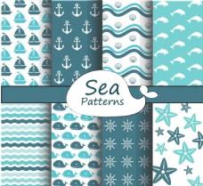 蓝色海洋图形背景矢量素材下载