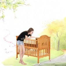 母亲和儿童床背景