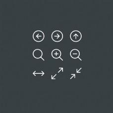 左右箭头扁平化的细线系统软件常用图标