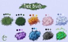彩色树木ps笔刷