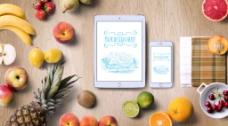 简单排版实木背景水果电子产品时尚海报