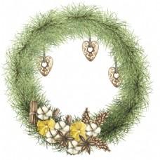 唯美绿草编织花环素材高清