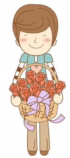 卡通人物玫瑰花卉