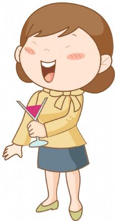 矢量卡通喝酒人物