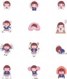 卡通女性儿童表情动作