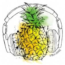 戴耳机的菠萝图片