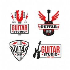 红色元素的吉他标志logo