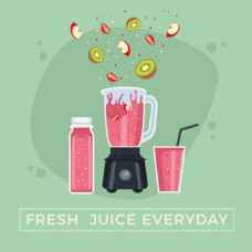 红色水果榨汁机和水果切片广告背景