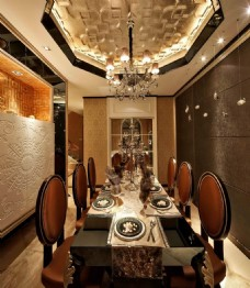 豪华餐厅餐桌设计图