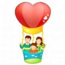 红色气球一家三口元素