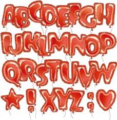 红色气球字母艺术字体矢量素材