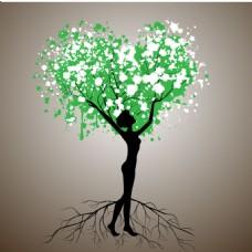 树人心形树叶剪影矢量图素材