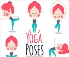 五款卡通女子瑜伽动作元素