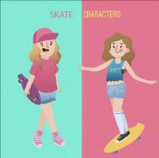 卡通滑滑板的女生插图