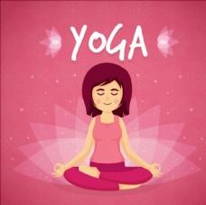 卡通女子瑜伽插图