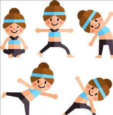 五款扁平化女子瑜伽动作元素