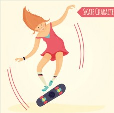 卡通滑滑板的女孩插图