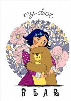 可爱卡通人物与卡通熊