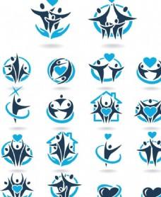 人形爱心团队logo设计