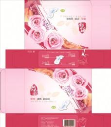 卫生巾 包装设计 玫瑰花 粉红