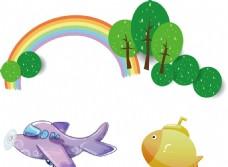 彩虹树木 飞机