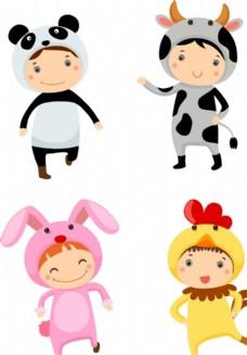 卡通动物儿童