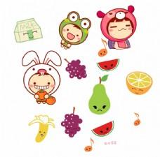 卡通动物 水果
