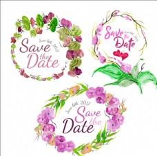 三款手绘水彩婚礼花环