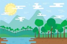 卡通山水风景