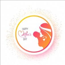 母親節快樂輪廓貼紙標簽設計