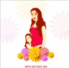 母親節女兒擁抱母親插圖