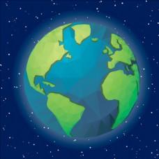 蓝色星空背景中的地球