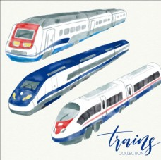 手绘水彩现代高铁列车