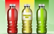 三款不同颜色饮料包装效果矢量