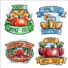 一些水彩果汁标签