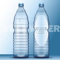 环形矿泉水瓶包装白模矢量