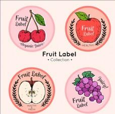 四个手绘水果标签