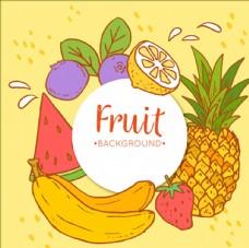 手绘彩色水果背景