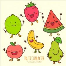 一组手绘水彩水果角色