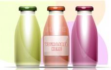 大肚子玻璃瓶饮料包装设计矢量
