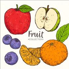 一组手绘的美味水果