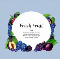 手绘水彩水果背景