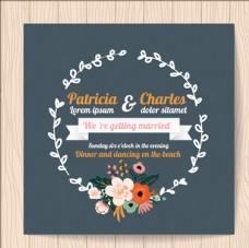 丝带和花环婚礼邀请卡