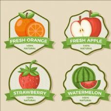 四款水果贴纸标签