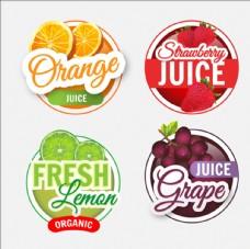 四款写实风格水果标签贴纸