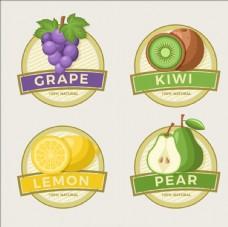 四款水果标签贴纸