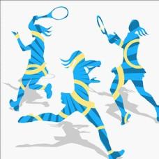 打网球女性新剪影轮廓