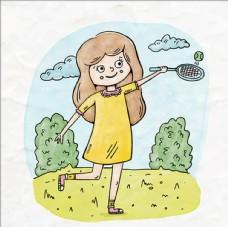 卡通网球比赛培训俱乐插图
