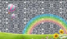 卡通彩虹绿色草地电视背景墙