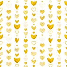 金色爱心插画风格背景纹理矢量图